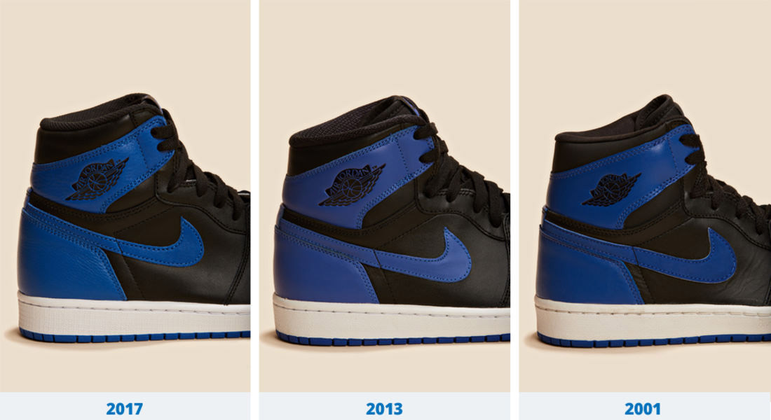 The leather is different on each pair and the shade of blue gradually got  brighter. Unlike the 2013 and 2017 releases cc63b00c779f
